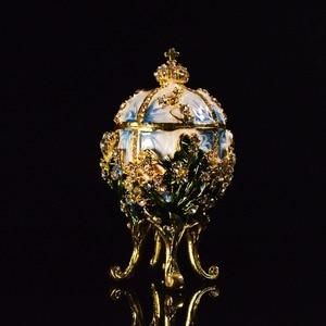 Image 2 - Qifu Metal Handicraft Small Faberge Egg Jewelry Box Home Decor
