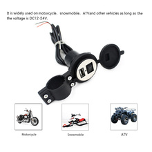 4 Colors DC12V 24V Waterproof USB Plug with Switch For Motorcycle Snowmobile ATV Car Charger Socket USB Cover Plug