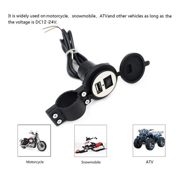 4 kleuren DC12V 24V Waterdichte USB Plug met Schakelaar Voor Motorfiets Sneeuwscooter ATV Car Charger Socket USB Cover Plug