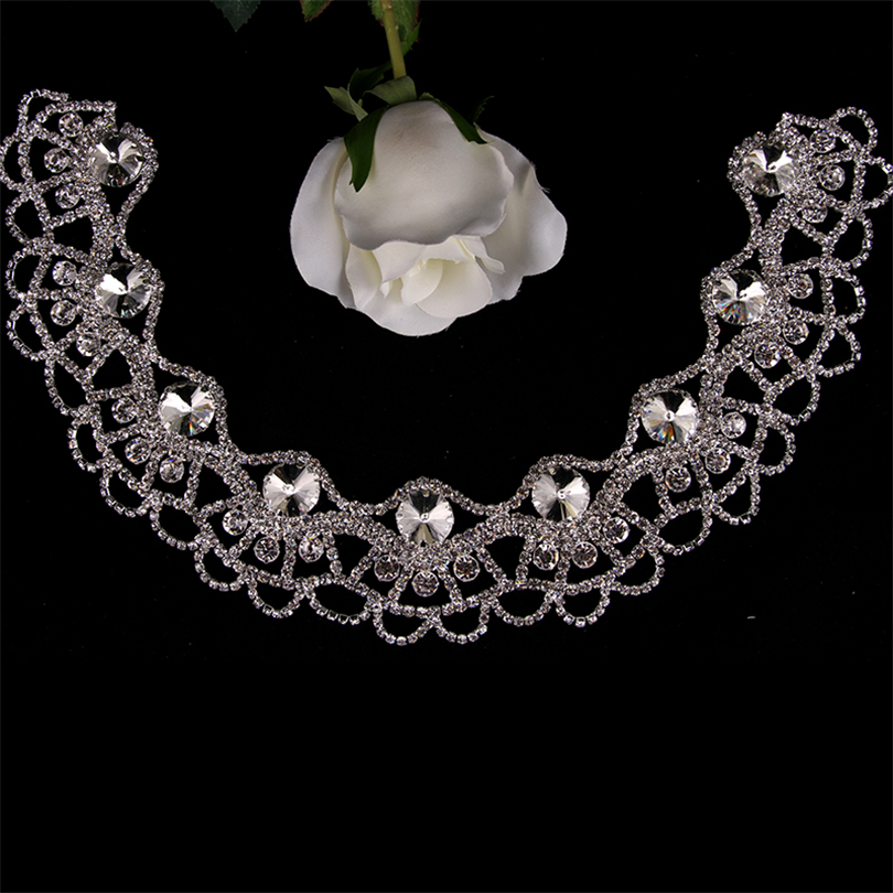 Cusack Bling Necklace Neckline Crystal Appliques for Wedding Dresses Bride Headband Hair Accessories Sew On Motif Rhinestone