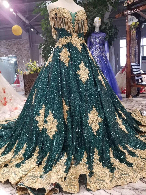 2019 Vintage longue robe de bal paillettes brillant or délicate Appliques robe de bal vert foncé (Blings tomber est Normal) pour la fête - 6