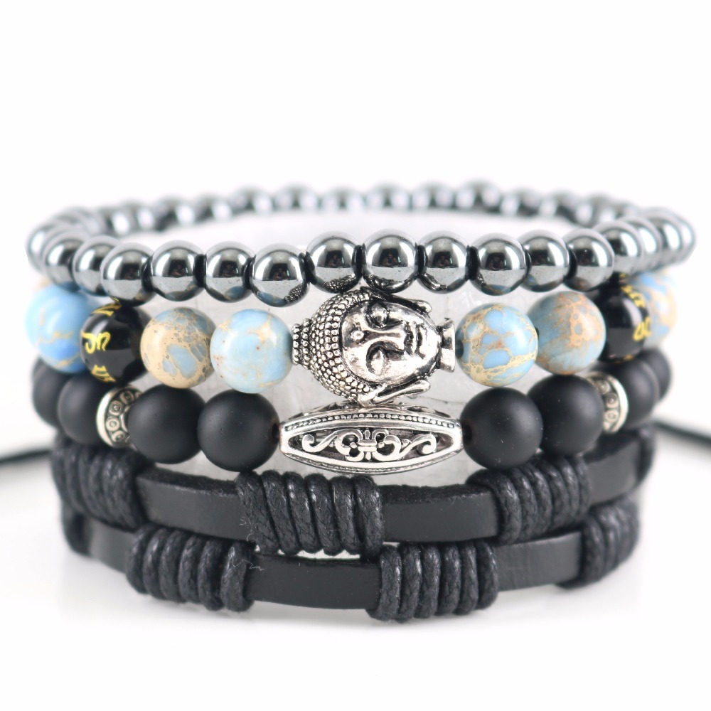 Beasivor Sky Blue Regalite Stones Vintage Silver Buddha Bracelets Men Women Hematite Beaded Wrap Bracelets Leather