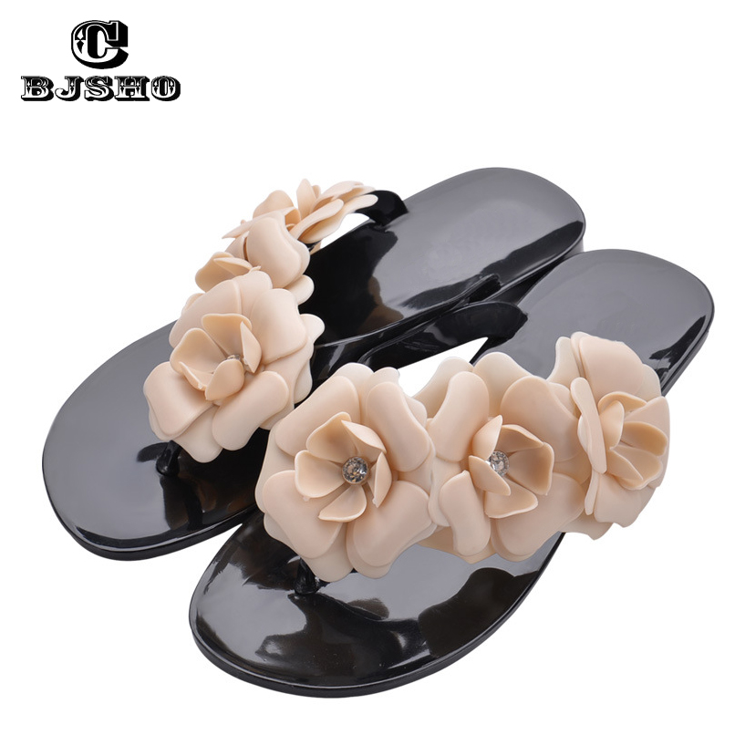 CBJSHO New Brand Fashion Flower Summer Sandals Women Flat Flip Flops Ladies Slippers Shoes Camellia Candy Color Sandals Female