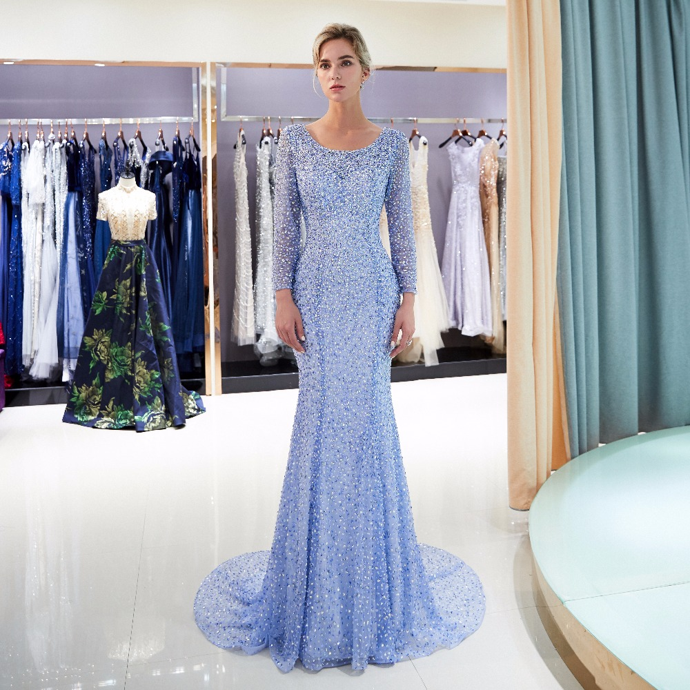 2019 Luxury light blue Mermaid Evening Dresses Champagne Train Long Sleeves Beading Crystal Evening Gown Saudi Arabia Dubai