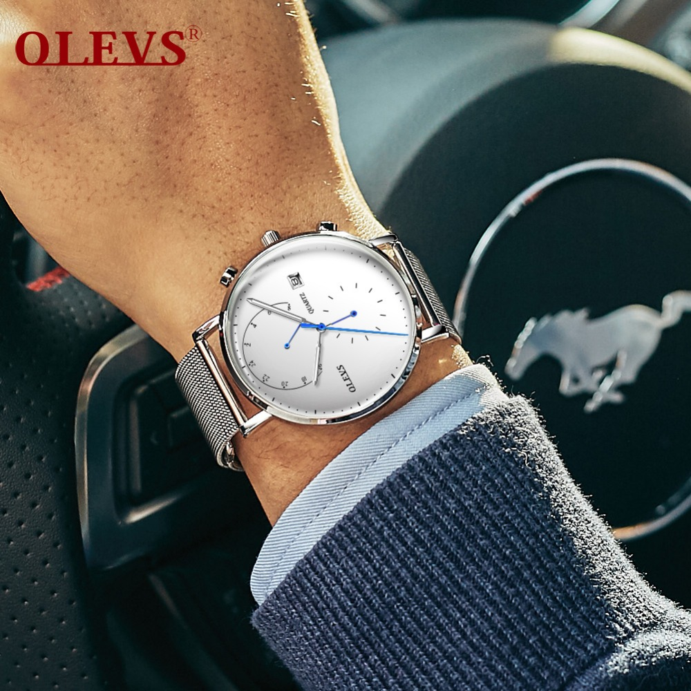 OLEVS Watch Men Top Brand Luxury Mens Watch Milanese Steel Strap Clock Men Watches Relogio Masculino Horloges Mannen Erkek Saat
