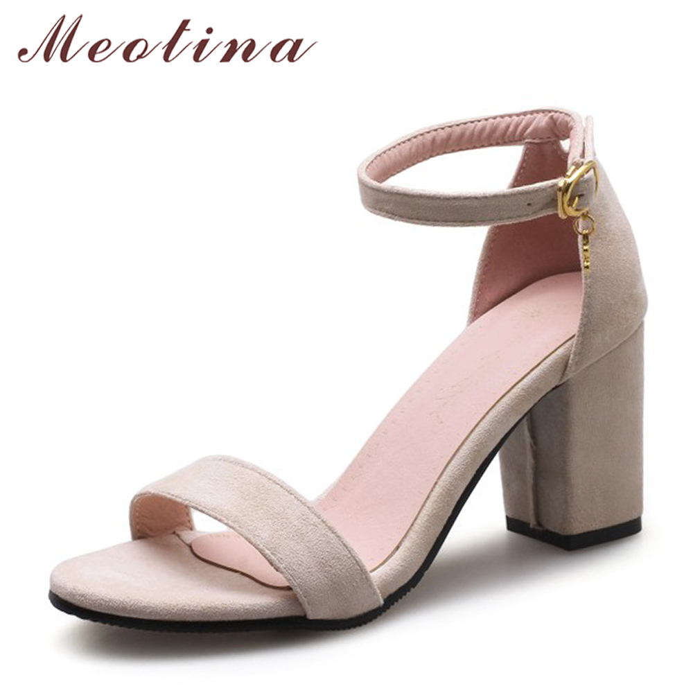 Meotina Women Sandals High Heels Ladies Summer Shoes Black Peep Toe Block Heels Party Shoes Female 2018 Buckle Large Size 33-43 large size 34 44 women open toe buckle high heels sandals wedges summer ladies cut outs peep toe rhinestone party wedding shoes