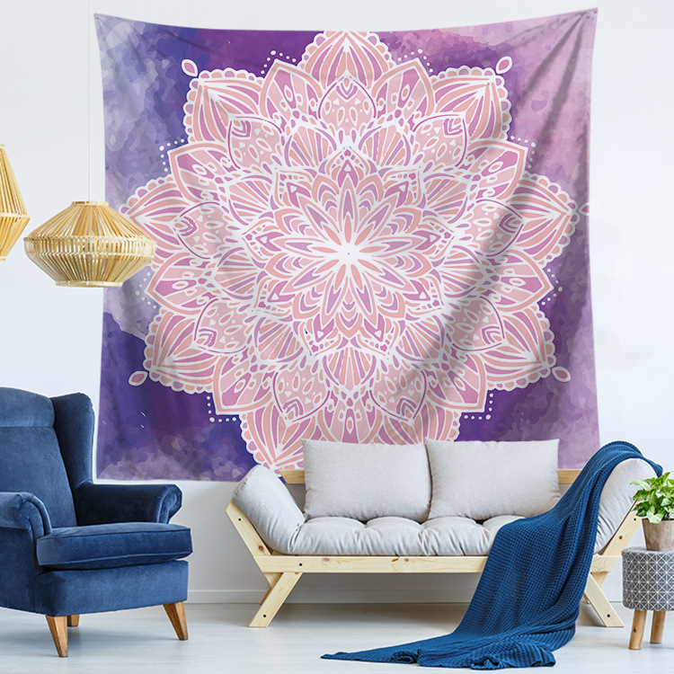 Psychedelic Mandala Tapestry Cotton Geometric Lotus Flower Pattern Indian Wall Hanging Home Decor