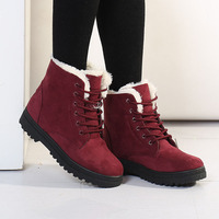 Hot Brand Women Snow Boots Warm Winter Boots Snow Botas Mujer Lace Up Fur Plush Ankle