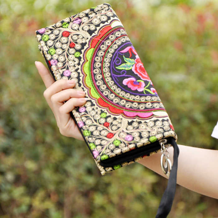 Small Embroidered purse Mobile Phone Wallet Lady Nation Style Boho Ethnic Embroidery Canvas Day Clutch Bag Embrague Bolsos de