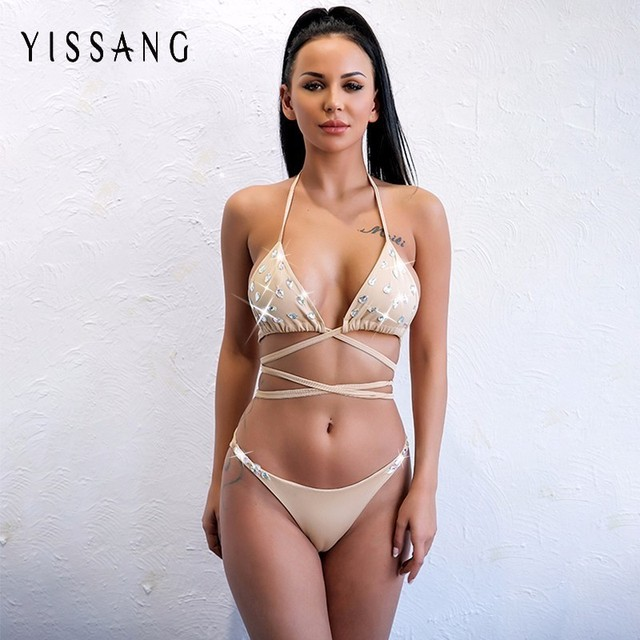 d7587ab3d91 Yissang 2018 New Collection Luxery Craystal Set 3 Colors Sexy Push Up Women  Halter Rompers Suits