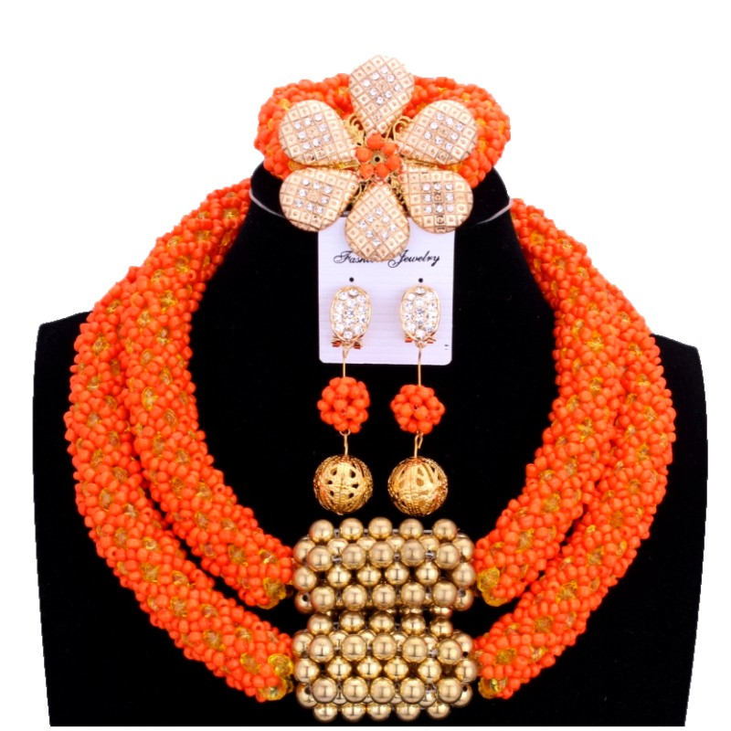 Delicate Orange Nigerian Beads Jewelry Sets Christmas Necklace Set of Jewelry African Jewelry Set Crystal Bridal Wedding Beads все цены
