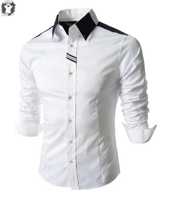cd0f69ff50a2 Top Design Business Men's Shirts Slim Fit Casual Turn-down Collar Solid  Dress Shirts Long-sleeved Mens Formal Shirts Plus Size