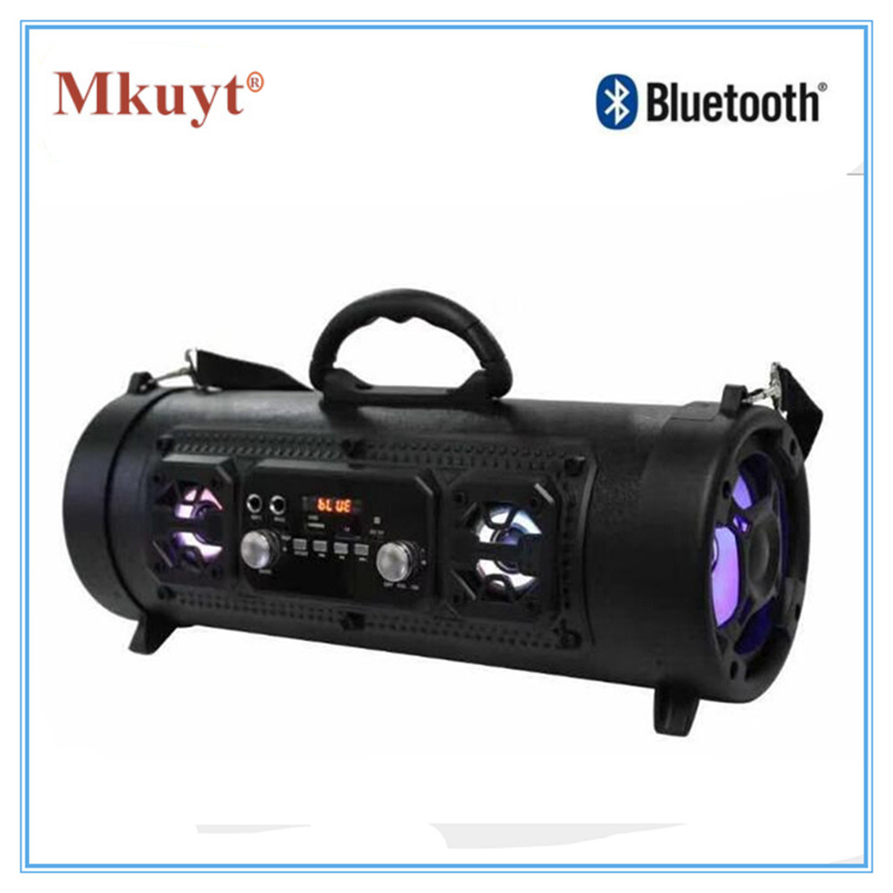 MKUYT Outdoor Portable Bluetooth Speaker 15W Heavy Bass Multi Function TF U disk Card Slot Microphone Sound Tide for Smartphones t050 3w mini portable retractable stereo speaker w tf black golden 16gb max