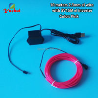 10 Color DIY Computer Car Party decorating 2.3mm 10M Flexible EL wire Shaped LED Neon glow Rope tube Light Powered by 5V USB