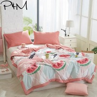 2019 3D Watermelon Pink INS Stitching Comforter Wash Polyester Fabric Thin Summer Quilt Air condition Twin Full Queen Size