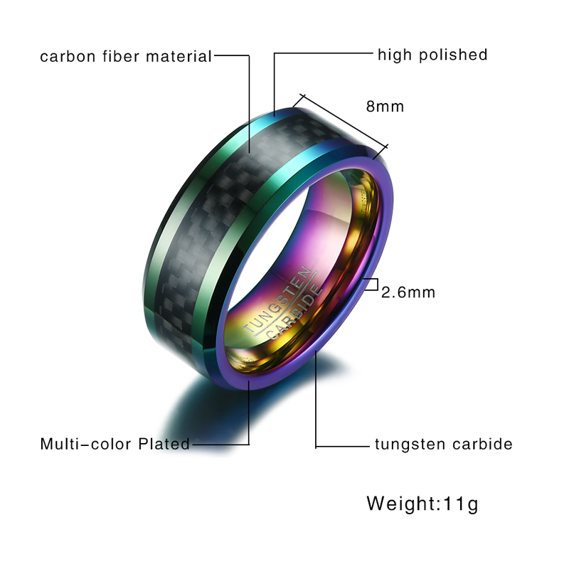 Mens 8mm ring with Carbon Fiber inlay with multi colour inner 1