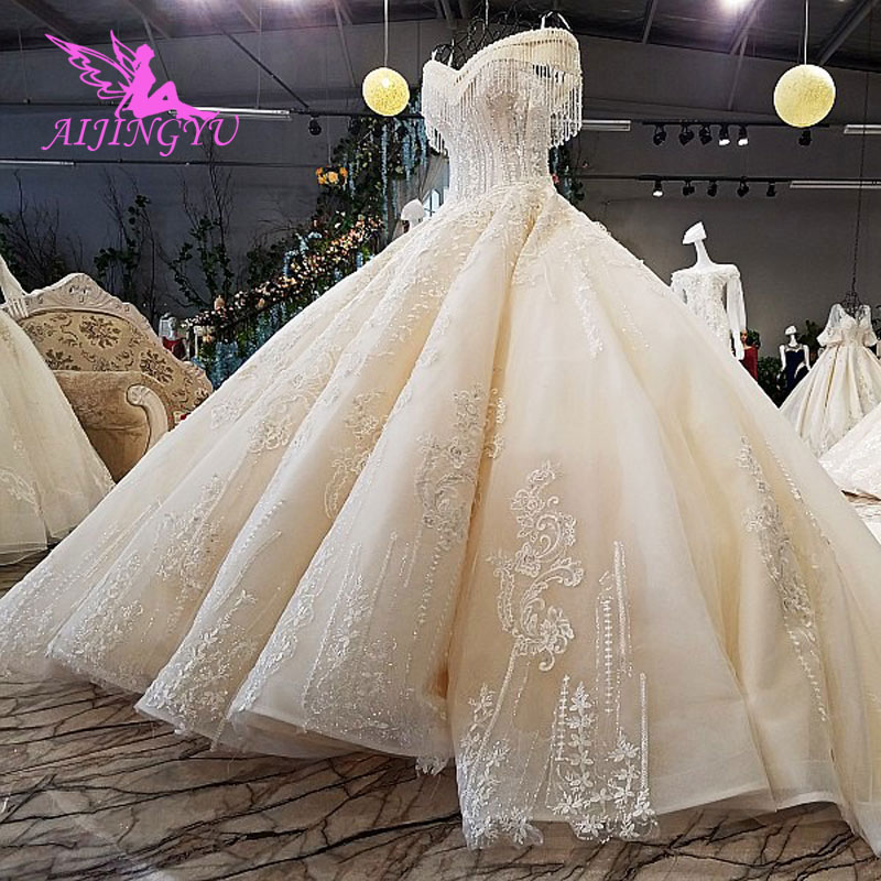 AIJINGYU Sparkling Wedding Dresses 2018 Sequin Gowns Greece Front Long Back Luxury Lace Ball Gown Korea Wedding Dress
