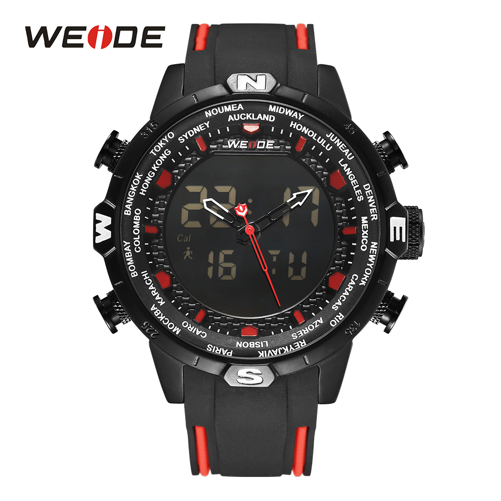 WEIDE Men's Military Quartz Alarm Chronograph Auto Date Digital Calendar Display Analogue Black Rubber Strap Wristwatch Red clearaudio professional analogue toolkit