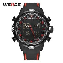 WEIDE Men's Sports Watches Military Quartz Alarm Chronograph Digital Calendar Black Strap Wristwatch Red Montres hommes  Relojes