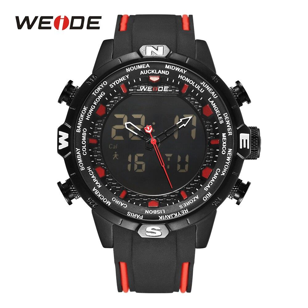 WEIDE Montres de sport pour hommes Quartz militaire alarme chronographe calendrier numérique bracelet noir montre-bracelet rouge Montres hommes Relojes