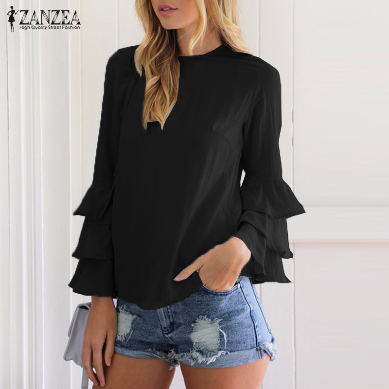 HTB1Qp9TOVXXXXXiaFXXq6xXFXXX4 - Women Blouses Shirt Elegant Ladies O Neck Long Flare Sleeve