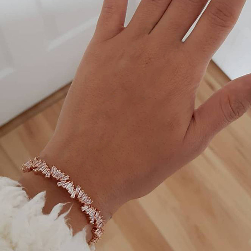 4pcs//Set Femmes Gold Moon Leaf Lightning Rhinstone Cuff Chaîne Bracelets Bangle