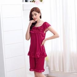 Новое поступление, летняя женская лед шелковая пижама, удобная мягкая Свободная Женская пижама с короткими рукавами и укороченные штаны