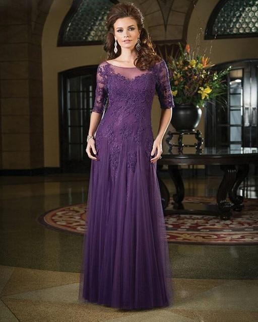 Mother Of The Bride Dress 2016 Classic Half Sleeves Dark