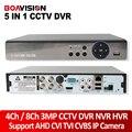 5 В 1 4MP XVR CCTV 4Ch AHD DVR NVR 8-канальный 1080 P 3-МЕГАПИКСЕЛЬНАЯ 5MP Hybrid DVR Безопасности Рекордер Камеры Onvif P2P Coxial RS485 Управления облако