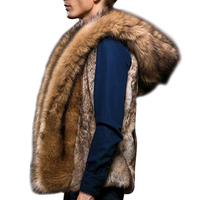 Men Coat Autumn And Winter Models Men S Hair Vest Hooded Plush Fashion Fur Coat High