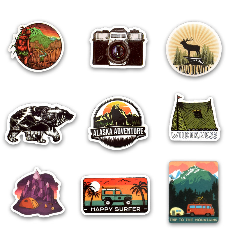Image 3 - 50Pcs Camping Landscape Stickers Outdoor Adventure Climbing Travel Stickers for Computer Macbook Luggage Bicycle Laptop Sticker-in Laptop Skins from Computer & Office