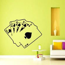 Free shipping Decals Cards Poker Casino Decal Vinyl Sticker Home Decor Bedroom  Wall decoration Modern Design Wall stickers цена