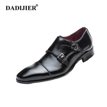 DADIJIER Men shoes brand genuine leather shoes black formal Men dress double monk buckle straps wedding Goodyear shoes ST233