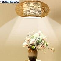 BOCHSBC Led Bamboo ручной вязки абажур с плоской свет новый китайский творческий украшения подвесной светильник для Гостиная Обеденная