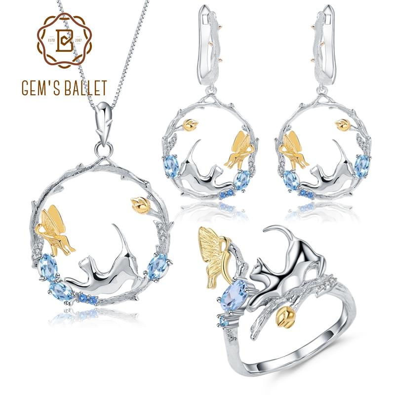 Gem's ballet 자연 스위스 블루 토파즈 925 스털링 실버 수제 고양이 & 큐피드 링 귀걸이 펜던트 쥬얼리 세트 여성용-에서보석 세트부터 쥬얼리 및 액세서리 의  그룹 1