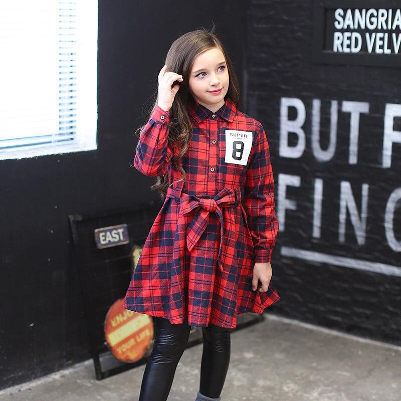 2017 Girl Autumn Dress 100% Cotton Kids Red England Plaid Dress For Princess Birthday 56789 10 11 12 13 14 Years Long Sleeve plaid long sleeve belted midi dress