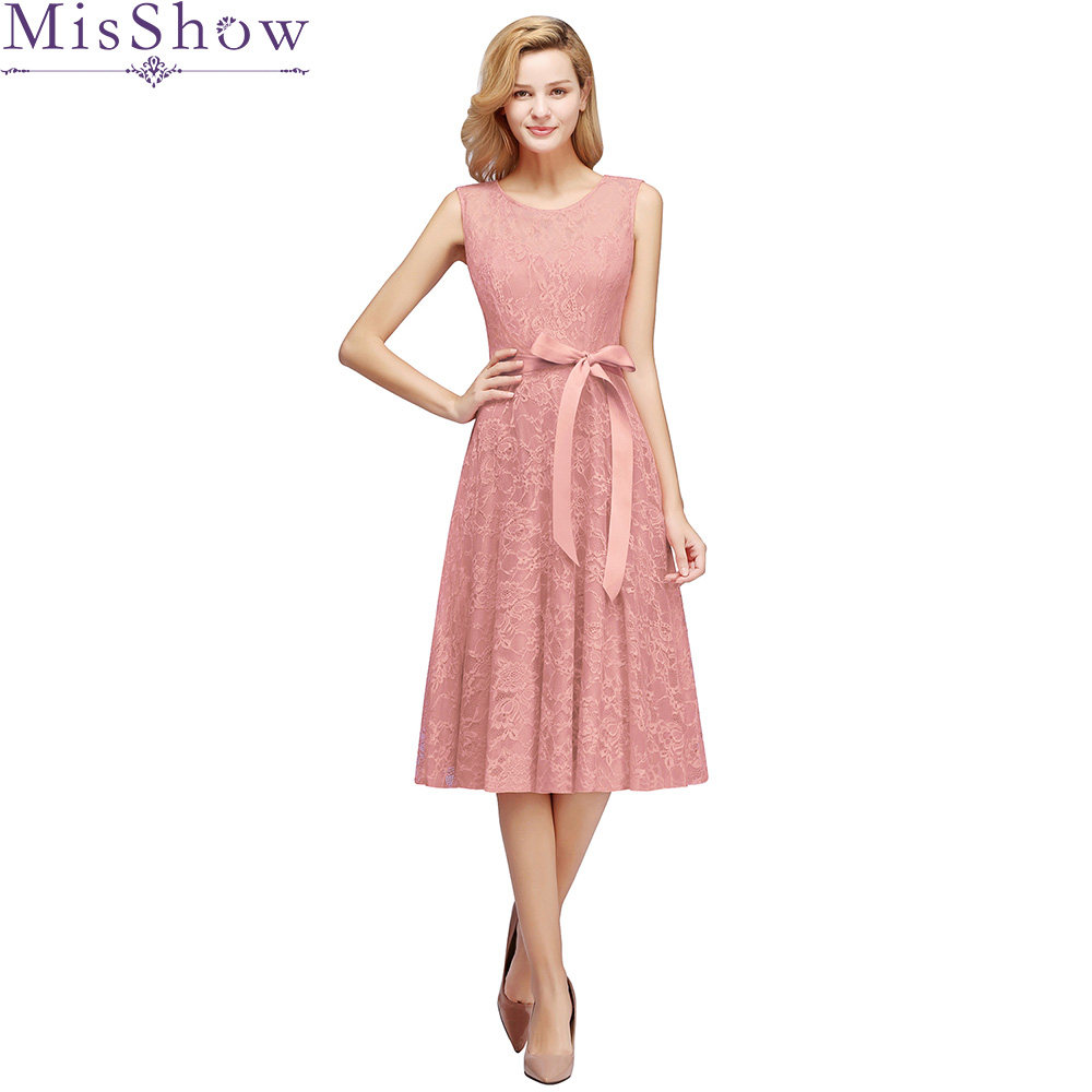 MisShow New Dust Pink   Bridesmaid     Dresses   Short A-line O-Neck Sleeveless Lace Short Party   Dresses   with sash Wedding Guest   Dresses