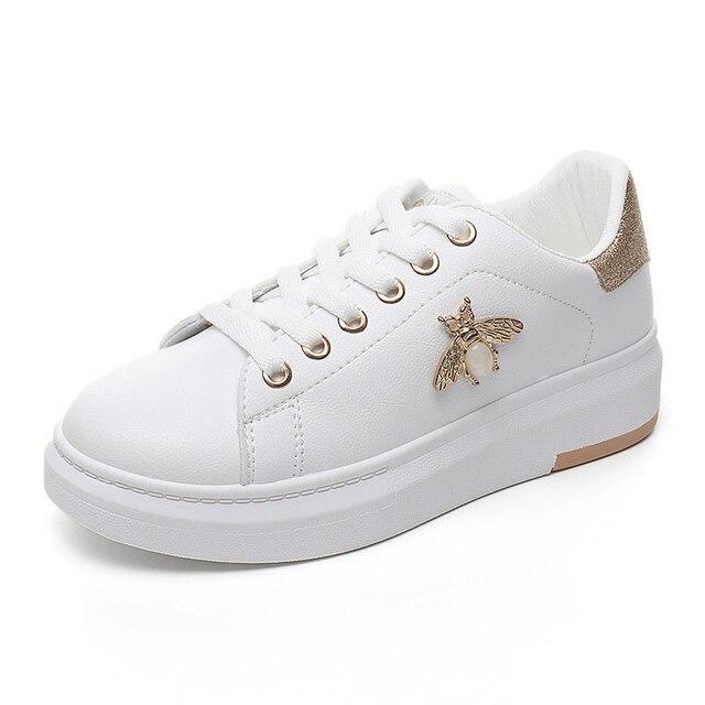 Kadın rahat ayakkabılar 2018 Sonbahar Kadın Sneakers Moda Nefes PU Deri Platformu Beyaz Kadın Ayakkabı Yumuşak Footwears