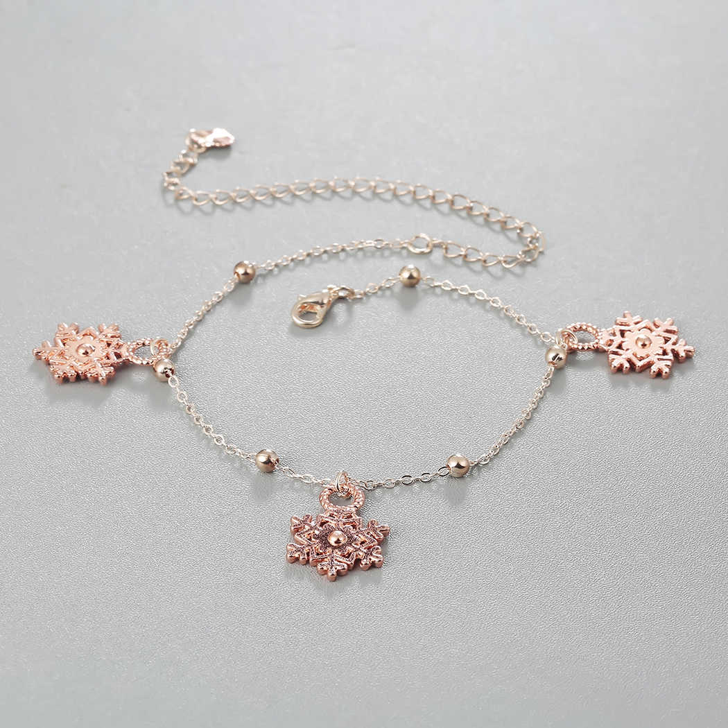 Moda płatek śniegu paciorek Charms wisiorek obrączki dla kobiet luksusowe złota róża łańcuszek na kostkę nogi kostki bransoletka biżuteria akcesoria