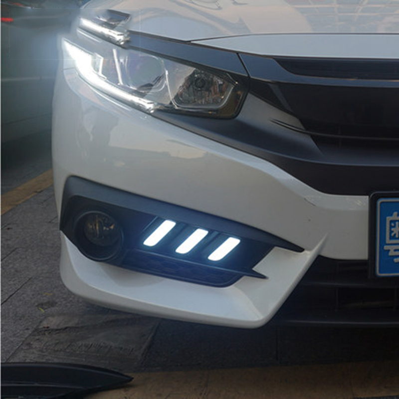 Fit For Honda Civic 10th 4door Sedan 2016 2017 Turning Signal Style Relay 12v Led Drl Daytime Running Lights With Fog Lamp Hole