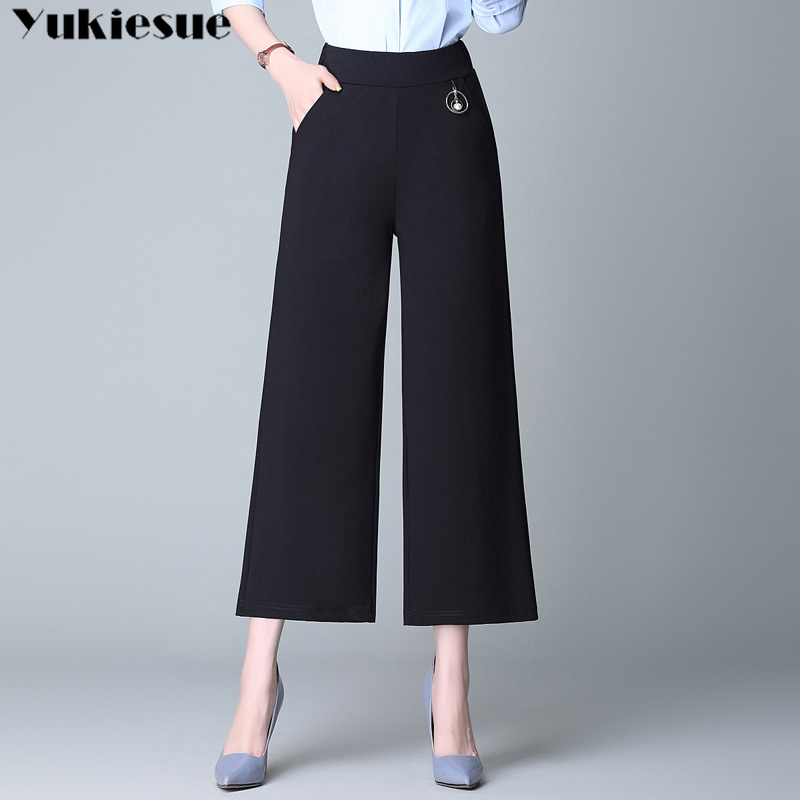 women's   pants   capris   wide     leg     pants   for women straight   pants   female trousers ankle length with high waist elastic Plus size