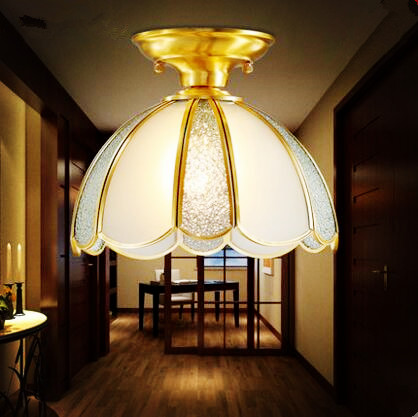 American Nordic Plafon Copper LED ceiling Light Aisle Balcony Living Room Lights Vintage Ceiling Lamp Lamparas De Techo Lustre copper retro vintage led ceiling lights