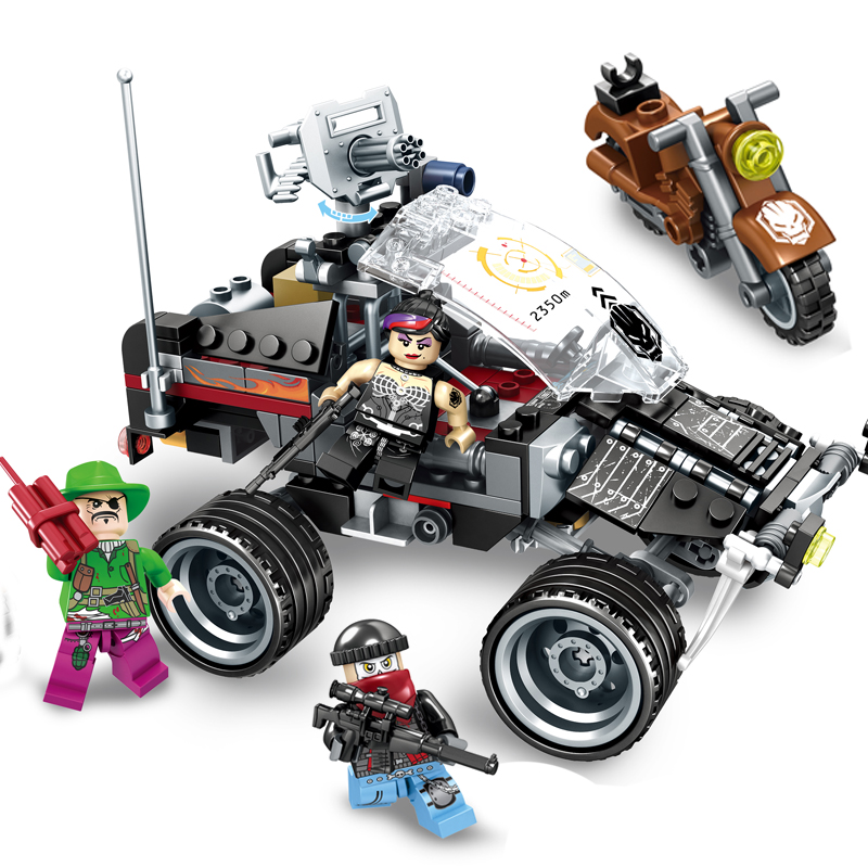 284pcs Military Special forces war motorcycle Building blocks set Compatible Legoed army soldiers figures bricks Children toys qunlong military 8in1 829pcs 8 figures building blocks compatible legoed tank warship army war toys for children constructor set
