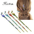 FANHUA New Hair Jewelry Vintage Colorful Enamel with Rhinestone Peacock Hair Sticks Hairwear For Fashion Women
