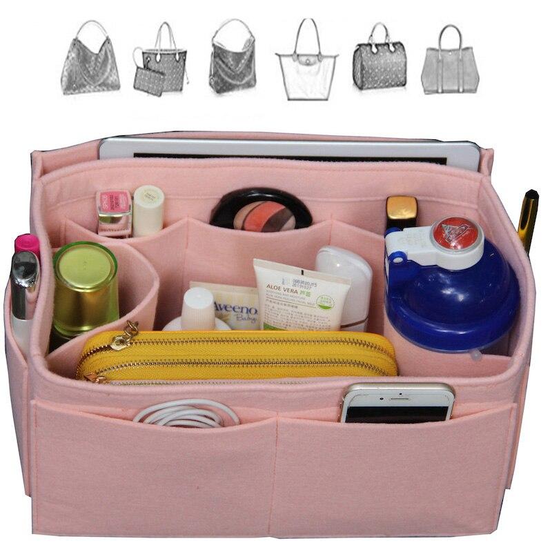 Exclusive CustomizableFelt Tote Purse Organizer/Multi Pocket Bag inBag Organizer For Tote/(w/Diaper Detachable Zipper