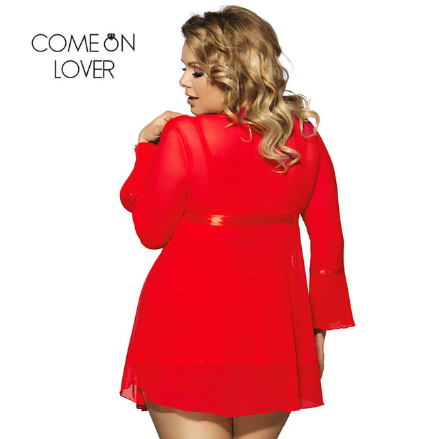 Comeonlover Wholesale Sexy Plus Size Lingerie Femme Porno High Quality Soft Nightgown Top +G string+Coat Sexy Pajamas RI80185 1