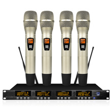лучшая цена Professional wireless microphone system four-channel UHF handheld lavalier microphone Karaoke party stage