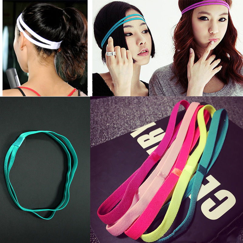 10 Colors Double Yoga Hair Bands Women Men Sweatbands Anti-slip Elastic Rubber Football Running Sports Headband Hair Accessories