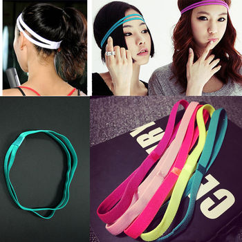 10 Colors Double Yoga Hair Bands Women Men Sweatbands Anti-slip Elastic Rubber Football Running Sports Headband Hair Accessories