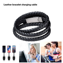 Leather Bracelet Charger Cable Luxury Wearable USB C Portable USB Phone Charger for IPhone Type C Android Micro USB Phones Cable(China)